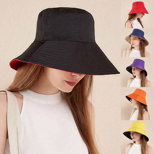 New summer hats for women Two-Sided Wear Solid wide-brimmed Foldable Outdoors Sun Fisherman cap