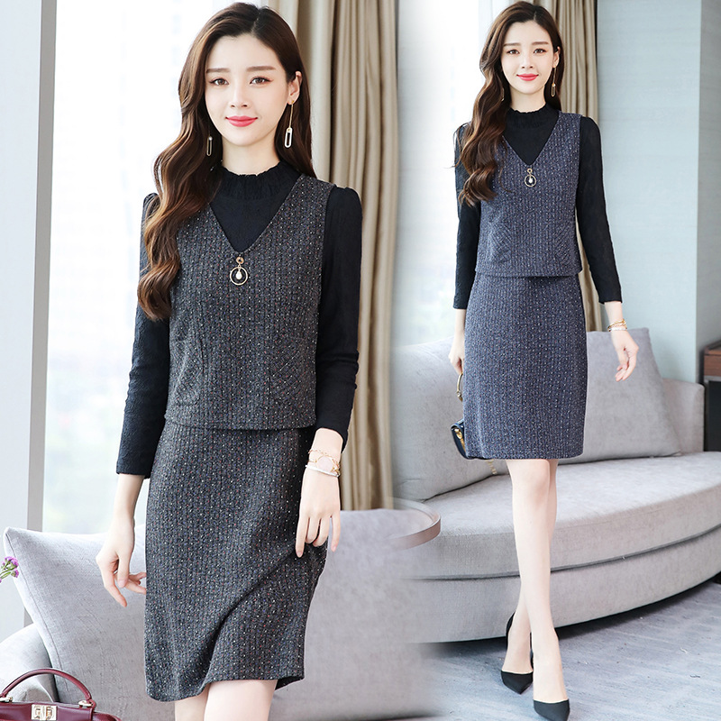Knitted Fashion Early Autumn Skirt Autumn Clothing WOMEN'S Dress Years 2019 By Age Elegant Western Style Two-Piece Set Europe An