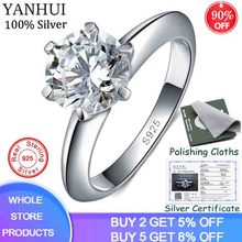 95% OFF! With Certificate 100% Original 925 Silver Ring 1.5ct Solitaire Cubic Zirconia Fine Jewelry Wedding Rings For Women J121