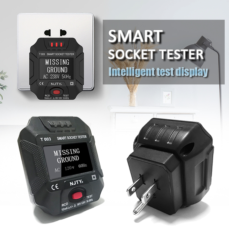 UK EU Plug Socket Tester Socket Outlet Smart Tester Digital Display Socket Tester Wall Breaker Finder Voltage Test Phase Check