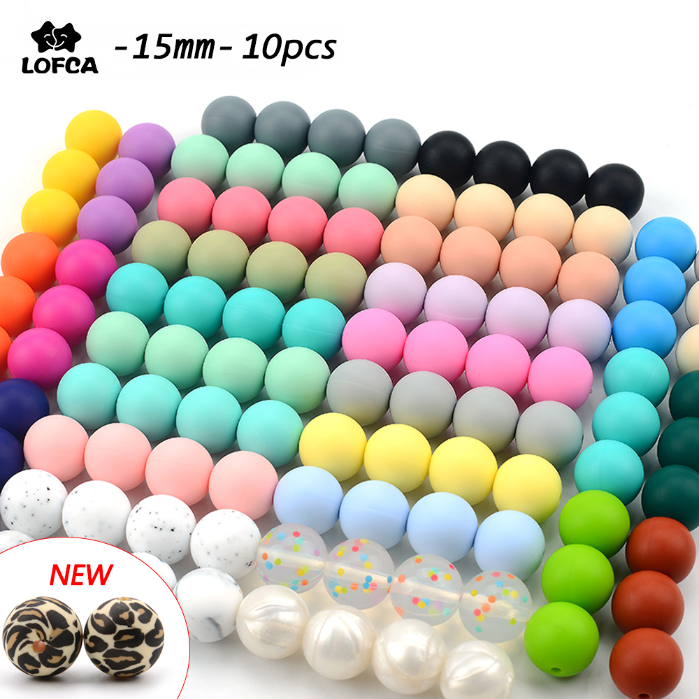 Baby Teethers 15mm 10pcs Silicone Beads Round Baby Teething Toddlers Toy Soft Chew Beads Food Grade Gift Pacifier Clip Chain title=