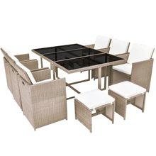 VidaXL – ensemble de chaises de jardin intégrées, meubles de Table avec 11 coussins en Rotin Beige, cadres en acier, décor pour jardin ou Patio