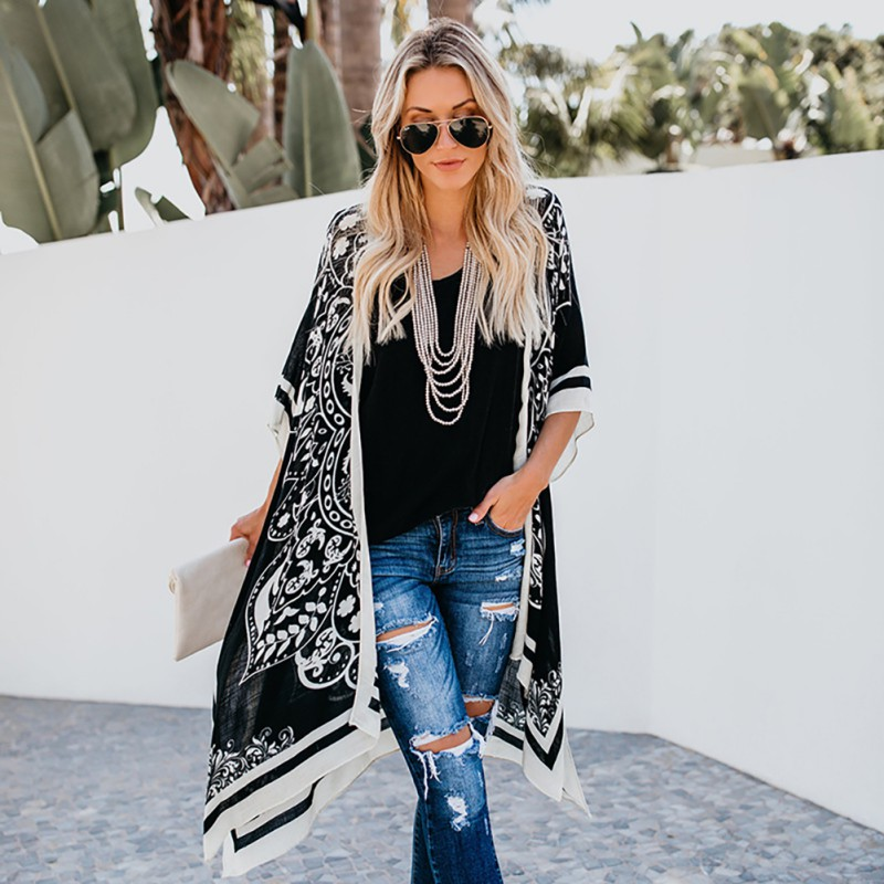 Women Digital PrintLong Style Plus Size Shirt Lace Loose Summer Fashion Sunscreen Shirts Beach Style Cardigan Kimono 2020