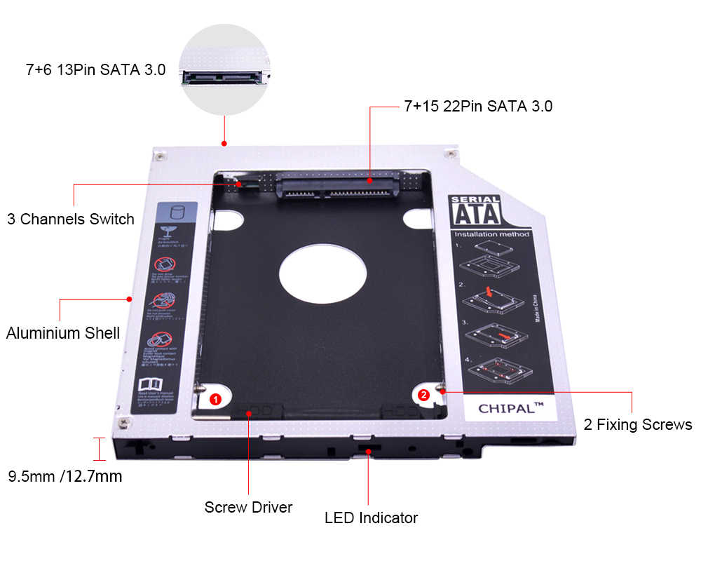 "Chipal universal sata 3.0 led 2nd hdd caddy 9.5mm 12.7mm para 2.5 ""2tb ssd caso disco rígido gabinete para portátil CD-ROM DVD-ROM"