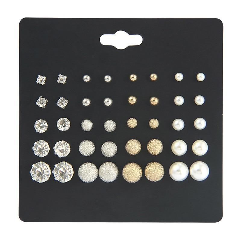 20Pairs/Set Women Stud Earrings Set Fashion Jewelry Earrings Korean Pearl Clip On Stud Earrings 2020