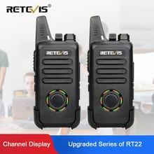 RETEVIS RT22S Walkie Talkie 2pcs Retevis RT22S 2W Portable Two way Radio Station VOX USB Charging Hidden Display Hiking Travel