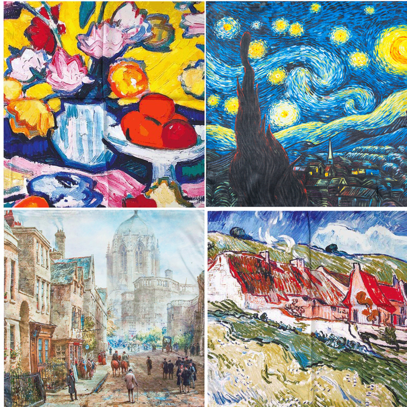 53X53CM Van Gogh Small Oil Painting Series Square 100%silk Scarf For Women Hangzhou Natural Scarf Female Kerchief Vintage Scarf