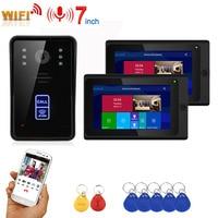 7 zoll 2 Monitore Drahtlose Wifi RFID Video Tür Telefon Türklingel Intercom Entry System mit Wired IR CUT 1080P Verdrahtete kamera-in Videosprechanlage aus Sicherheit und Schutz bei