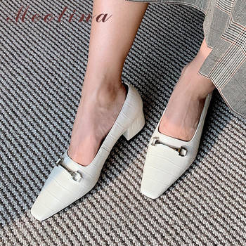 Meotina High Heels Women Pumps Natural Genuine Leather Chunky Heels Shoes Real Leather Square Toe Shoes Ladies Black Size 34-39
