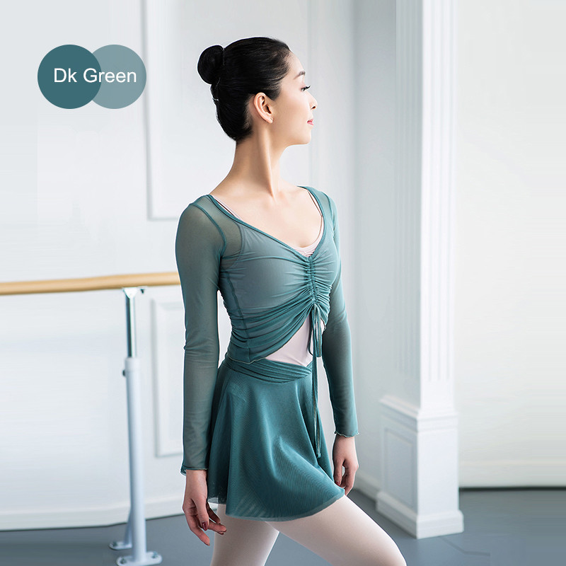 Adult Dance Top+Skirts Sets Female Gymnastic Body Suit With Classical Dance Gauze Dress And Ballet Training Suit