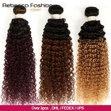 Rebecca – mèches mongoliennes 3/4 naturelles Remy, cheveux crépus bouclés, ombré, couleur 2 tons T1B/27 # T1B/30 # T1B/99J #, 100% pièces