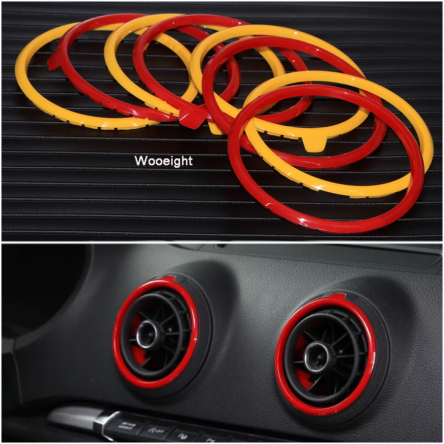 Wooeight 4Pcs For Audi A3 S3 <font><b>8V</b></font> Pre-facelift 2014 2015 2016 ABS AC Air Condition Vent Outlet Ring Cover Trim Replacement image