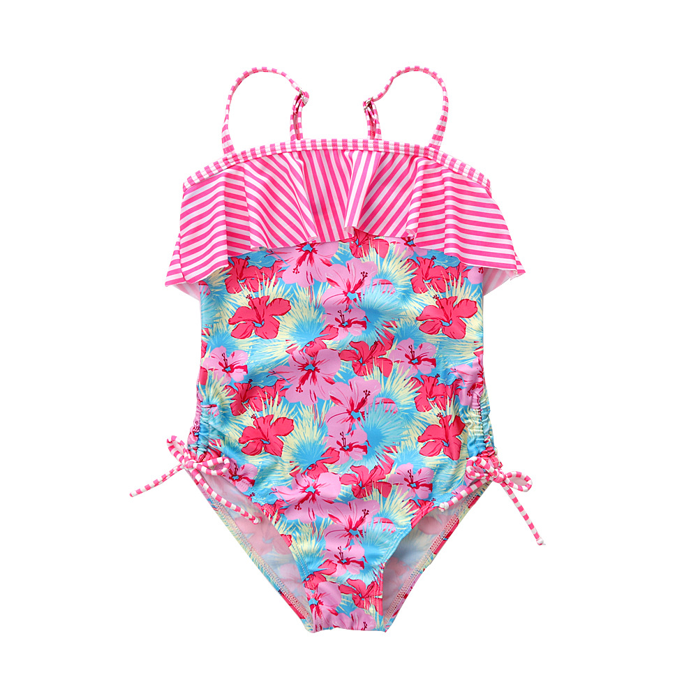 Foreign Trade 2019 New Style Children Flounced Printed Stripes Girls Children Siamese Swimsuit GIRL'S Swimming Wholesale