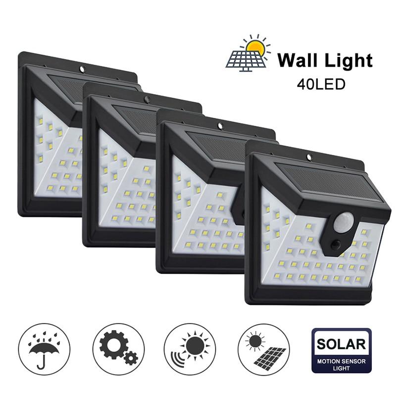 40 LED Solar Power Light 3 Modes Human Body Sensor 4pcs Solar Wall Lamp Outdoor Waterproof Energy Saving Garden Yard Lights