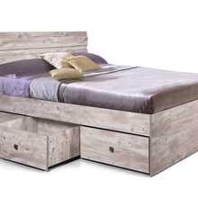 Кровать 1600 Лондон 2 (Дуб юккон, ДСП, Дуб юккон, 2000х1600 мм) Мебель КМК