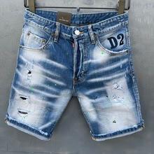Летние Стиль dsq бренд D2 джинсы италия Для мужчин шорты джинсы Для мужчин джинсовые штаны Прямые Краски тонкие черные шорты с прорехами джинс...