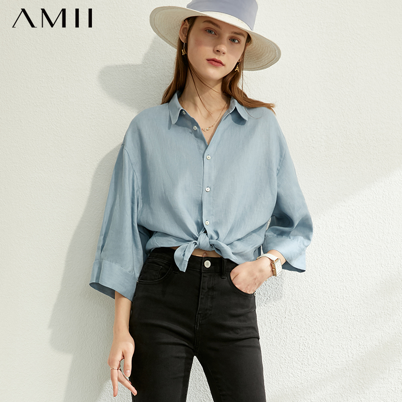 AMII Minimalism Spring Summer New Solid Loose Shirt Causal Lapel Three Quarter Sleeves Shirt Female Tops 12030212