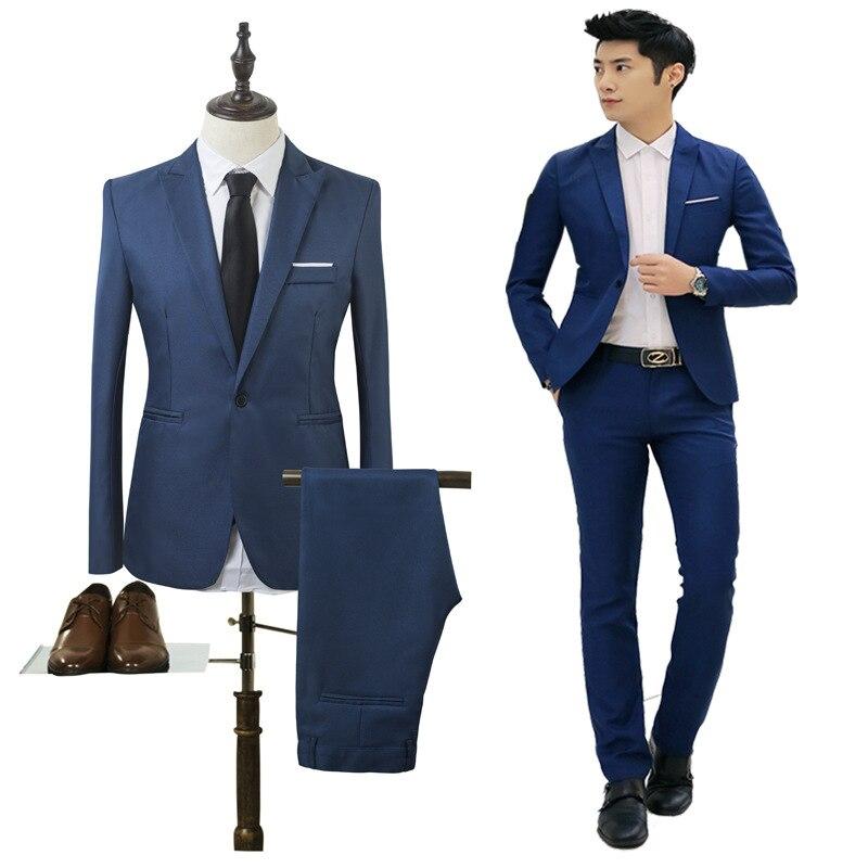 2019 High Quality Men Fashion Slim Suits Male Business Casual Groomsman 2pcs Wedding Suit Men's Jacket Pants Trousers Sets