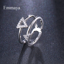 Emmaya Simplicity Model Hollow Out Differernt Size Triangle Full Of Cubic Zircon Ring Women Fashion Trend Simple Style In Party