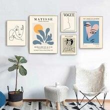 Pinturas em tela de arte moderna nórdica, imagens de retratos, sala de estar, quarto, decoração de parede de casa