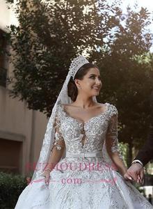 Image 2 - Dubai vestido de boda de lujo con cuentas, manga larga, cuello en V, vestido de baile, lazo para vestido de novia, apliques, vestido de novia con cinturón