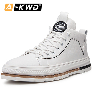2019 Autumn Breathable High Top Sneakers Black White Sneakers Pu Leather Men Turnschuhe Common products Casual Mens Sports Shoes