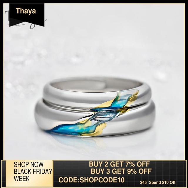 Thaya S925 argent Couple anneaux lautre rive étoilé Design anneaux pour femmes hommes redimensionnable symbole amour mariage bijoux cadeaux