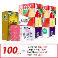 NOX 100pcs/lot Ultra Thin Lubricated Condoms Long Lasting Dotted Delay Sexy Intimate Goods Fruit Flavor Sex Products for Men