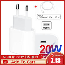 Original 20W For iPhone 12 Charger USB C C2L Adapter Travel PD fast charger QC3.0 for Apple Cable for iPhone 12 mini 11 Pro Max