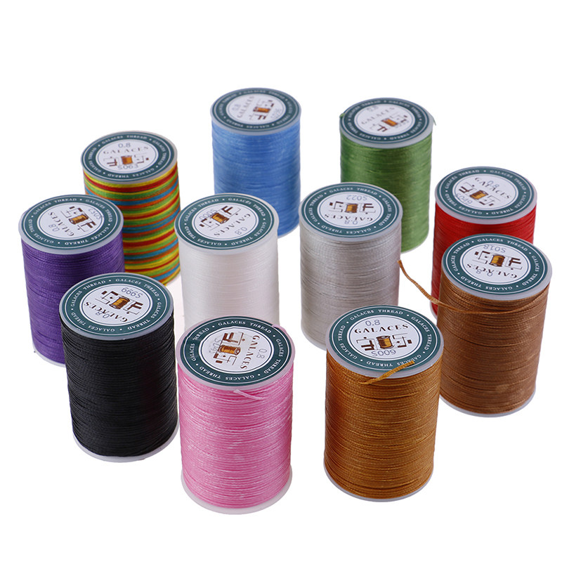 0.55mm Beige 85 Meters//Spool 1Pcs DIY Round Waxed Wax String Linen Stitching Thread Cord for Leather Craft Hand Work Sewing