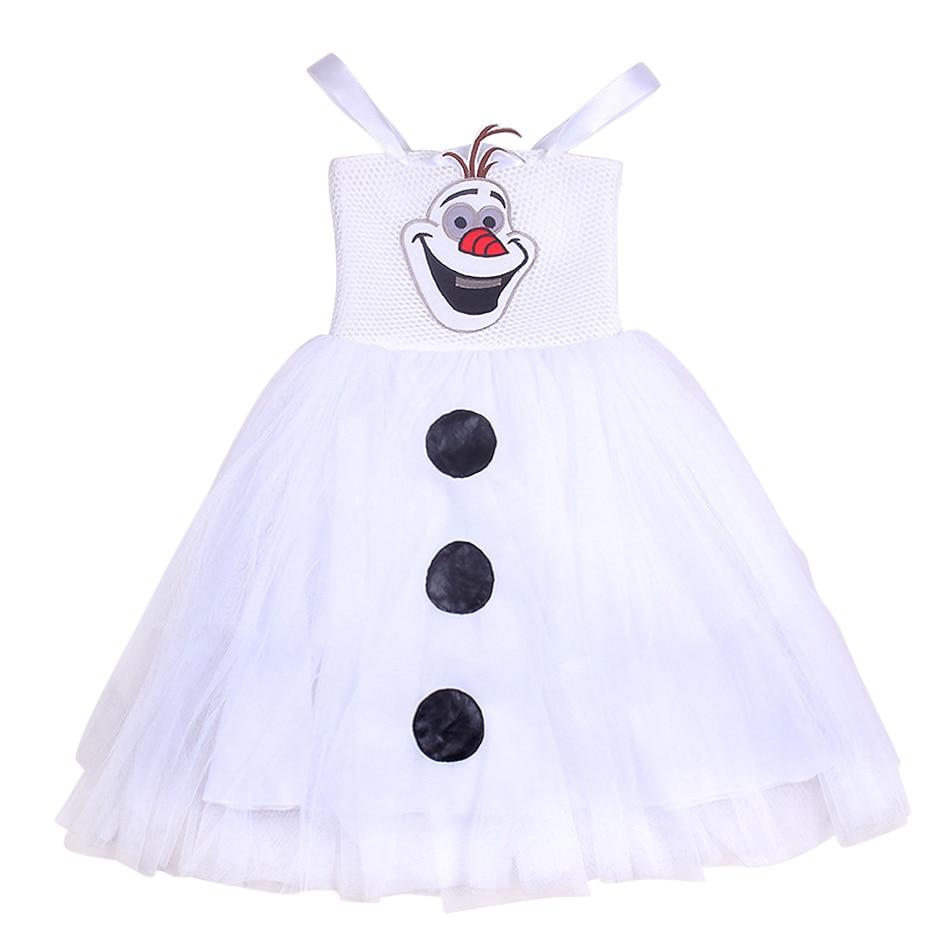 Snow Man Cosplay Costume Girls Olaf Princess Tutu Dress White Cartoon Frocks