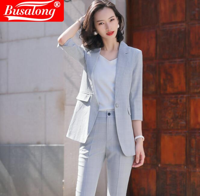 2020 Summer Casual Women Sets Short Sleeve Fashion Plaid Female Slim Pant Suit Buesiness Workwear Ladies Formal Suite