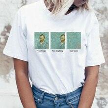 Van gogh t shirt Women Goghing Gone Meme White streetwear Tshirt plus size tee Tops Art Oil Painting t-shirt Femme camiseta