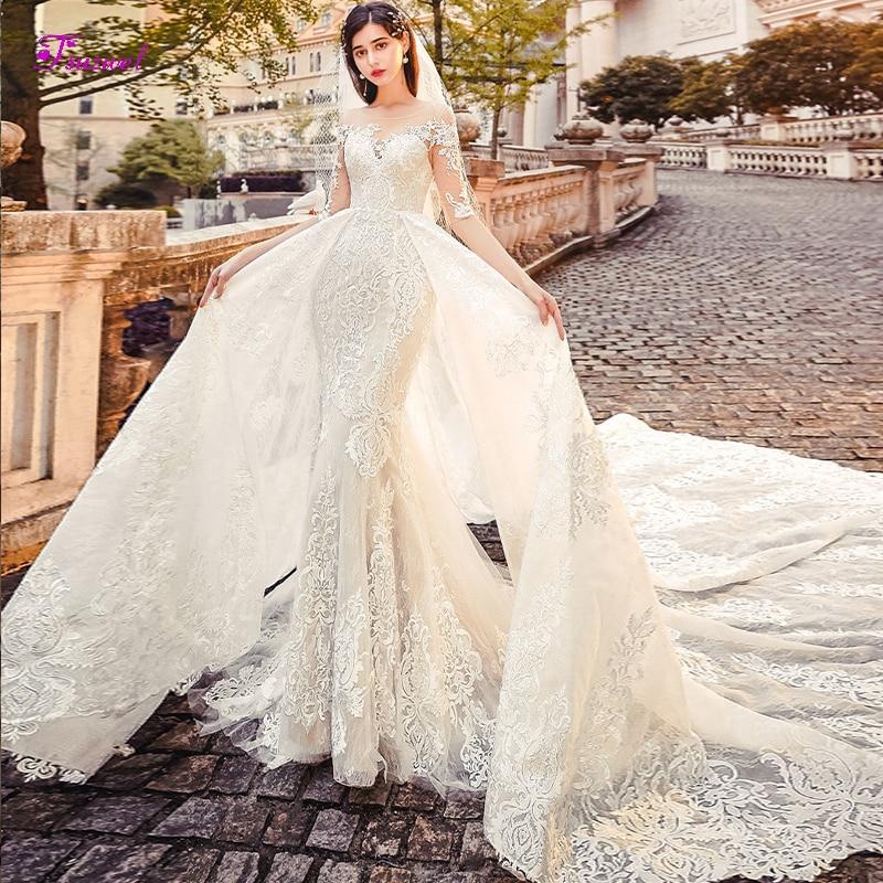 Fsuzwel Romantic Scoop Neck Half Sleeve Lace Mermaid Wedding Dresses 2019 Luxury Appliques Detachable Train Bride Gown Plus Size