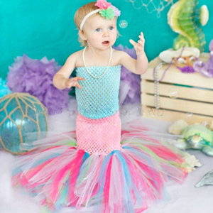 A Set Mermaid Sea Princess Girl Fishtail Tutu Dress Newborn Baby Kids Girls Pink Purple Aqua Mint Green Birthday Party Dresses(China)