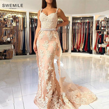 SWEMILE Detachable Train Mermaid Lace Evening Dress 2019 Sexy Spaghetti Straps Champagne Prom Gowns Robe de Soiree