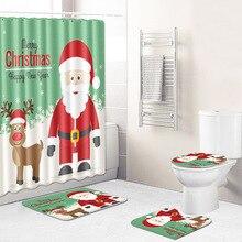 New Shower Curtain/Bath Mat/Toilet Pad Set Elk Pattern Anti-slip Toilet Carpet Flannel Bath Mat Bathroom Christmas Decor 4 Pcs flower pattern flannel nonslip bath mat