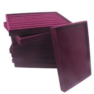 Image 5 - Samt Schublade Jewlery Box Organizer Fach für Uhr Armreif Ringe Display Schaufenster Lila 35x24x3cm