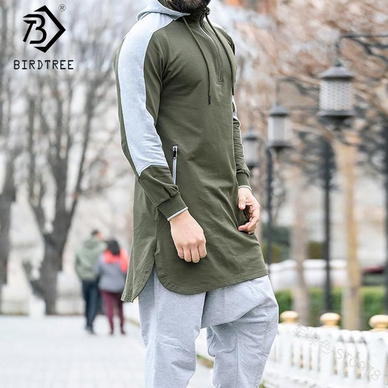 New Men's Patchwork Muslim Arabic Sweatshirt 2020 Autumn Zipper Full Sleeve Hooded Long Fitness Tops Jogging Clothing C9D421S