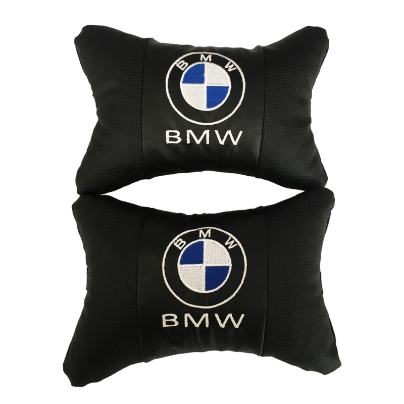 Car Neck pillow leather Auto Seat Head support neck protector rest travel cushion for BMW  2 pcs