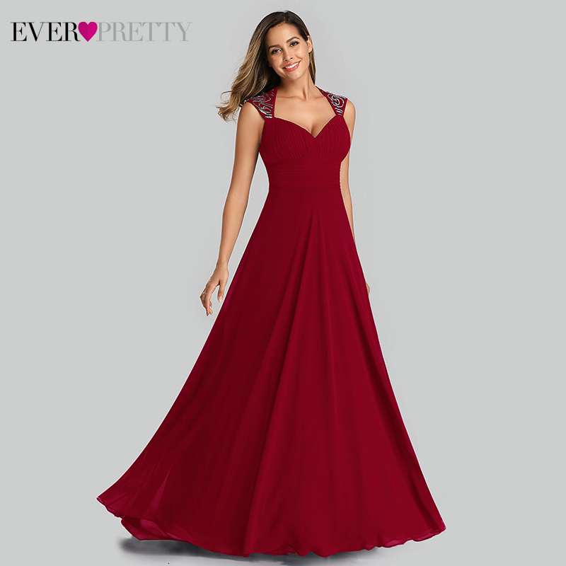 Elegant Prom Dresses Ever Pretty A-Line V-Neck Sleeveless Ruched Simple Chiffon Evening Party Gowns Vestido Largo Fiesta 2019
