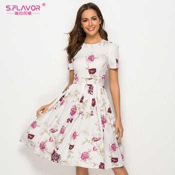 S.FLAVOR Simple Printing Dress Vintage Style Women O-neck Short Sleeve A-line Dress Slim Retro Vestidos De Female - DISCOUNT ITEM  47% OFF All Category