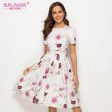 S.FLAVOR Vintage Women Short Sleeve Midi Dress Elegant Floral Printed A line Vestidos De Women Summer Casual Dresses