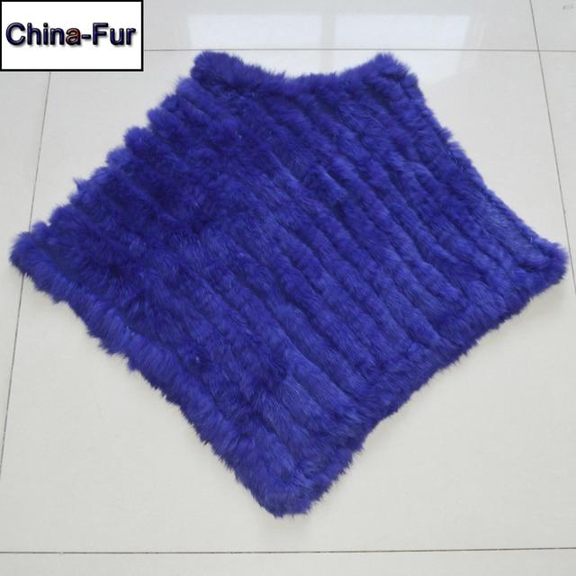 Autumn Winter Lady Genuine Knitted Rabbit Fur Poncho Wrap Scarves Women Natural Rabbit Fur Shawl Triangle Cape Wholesale Retail 1