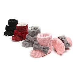 Зимняя Теплая обувь с ворсом внутри для маленьких девочек; ботинки для мальчиков с милым бантом; обувь для новорожденных; обувь для малышей ...