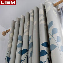 LISM Modern Printed Blackout Curtains For Living Room Bedroom Leaves Print Window Treatment Room Darkening Drapes kitchen Panel