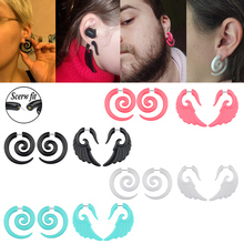 2pcs Acrylic Fake Cheater Stretcher Plugs Tunnel Faux Ear Taper Gauges Spiral Wing Stud Earrings Expander Piercing Body Jewelry