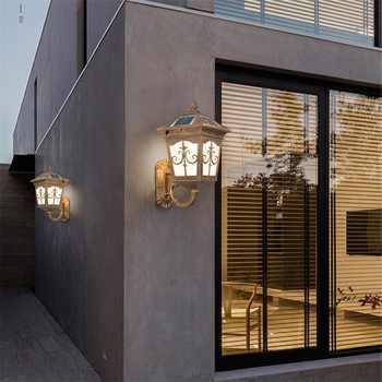 OUFULA Outdoor WallLedLight Solar Patio Modern Sconce LED Waterproof Lighting For Porch Balcony Courtyard Villa