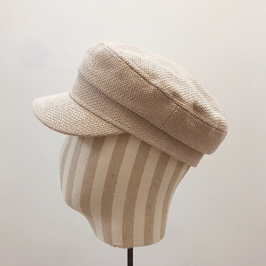 Image 4 - Summer 2020 Japan Net Red Same Hemp Like Breathable Fabric Flat Top Small Military Cap Couple Cap Fashion Cloth Cap Women Hats
