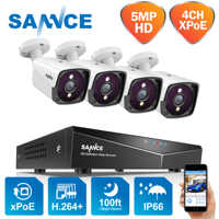 SANNCE 4CH 5MP POE Video Security System 5MP Outdoor Weatherproof Infrared Night Vision IP Camera Wireless Surveillance CCTV Kit